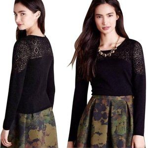Anthro Knitted & Knotted Nettie Black Lace Sweater